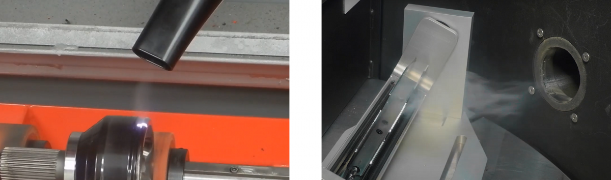 On the left, fume extraction is next to the source of fumes. On the right, fume extraction is as close as possible given mechanical constraints.