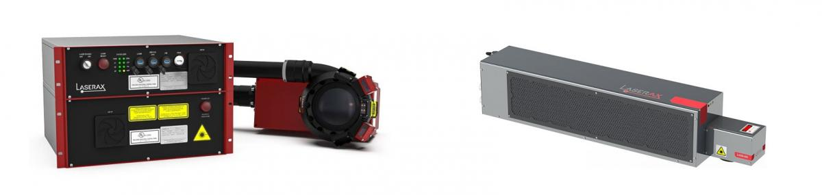 A fiber laser (left) and a CO2 laser (right)